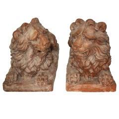 Pair of Terra Cotta Lions