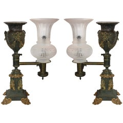 Pair of Argand Oil Lamps Later Fitted for Electricity