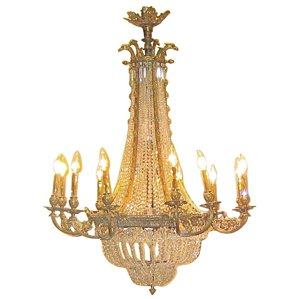 Louis XVI Style Bronze and Crystal Chandelier ,