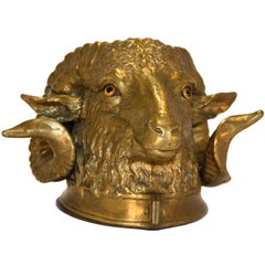 Bronze Inkwell Modelled as Ram's Head