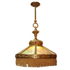 Neo-Renaissance Bronze and Slag Glass Ceiling Light