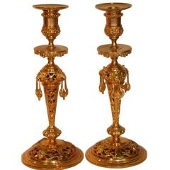 Pair of Renaissance Revival Gilt Brass Candlesticks