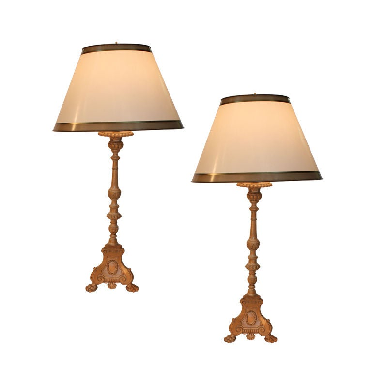 Pair of Quebec Pricket Candlesticks Adapted as Lamps For Sale