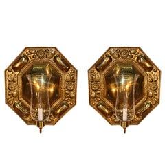 Pair of Octagonal Embossed Brass Reflectors