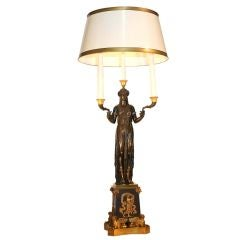 Empire Gilt and Patinated Bronze Figural Lamp