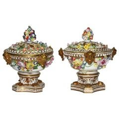 Pair of Derby Porcelain Potpourris