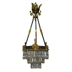Napoleon III Bronze and Crystal Waterfall Gasolier