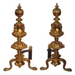 Pair of Renaissance Revival Brass Andirons
