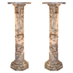 Pair of Marble Pedestals as Lamps