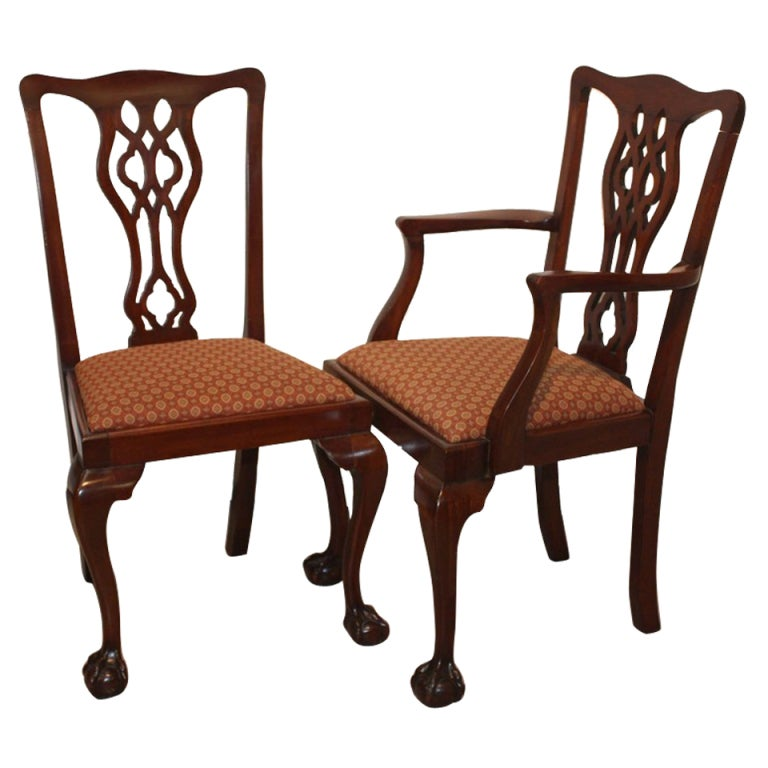 Chippendale Dining Room Chairs: Set Of Eight Chippendale Style Mahogany Dining Chairs At
