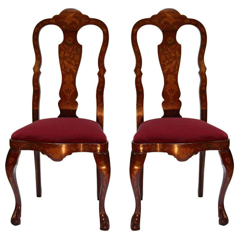 Pair of Queen Anne Style Chairs 1 - Pair Of Queen Anne Style Chairs For Sale At 1stdibs