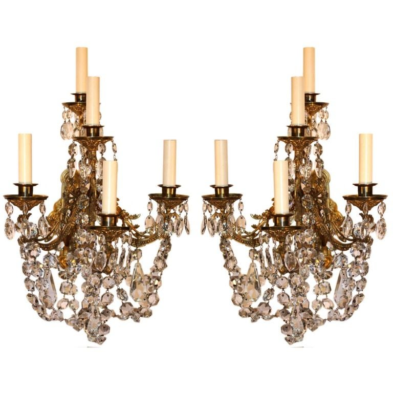 Pair of victorian painted and gilt trimmed 7 arm wall sconces for pair of victorian crystal and gilt bronze wall sconces aloadofball Images