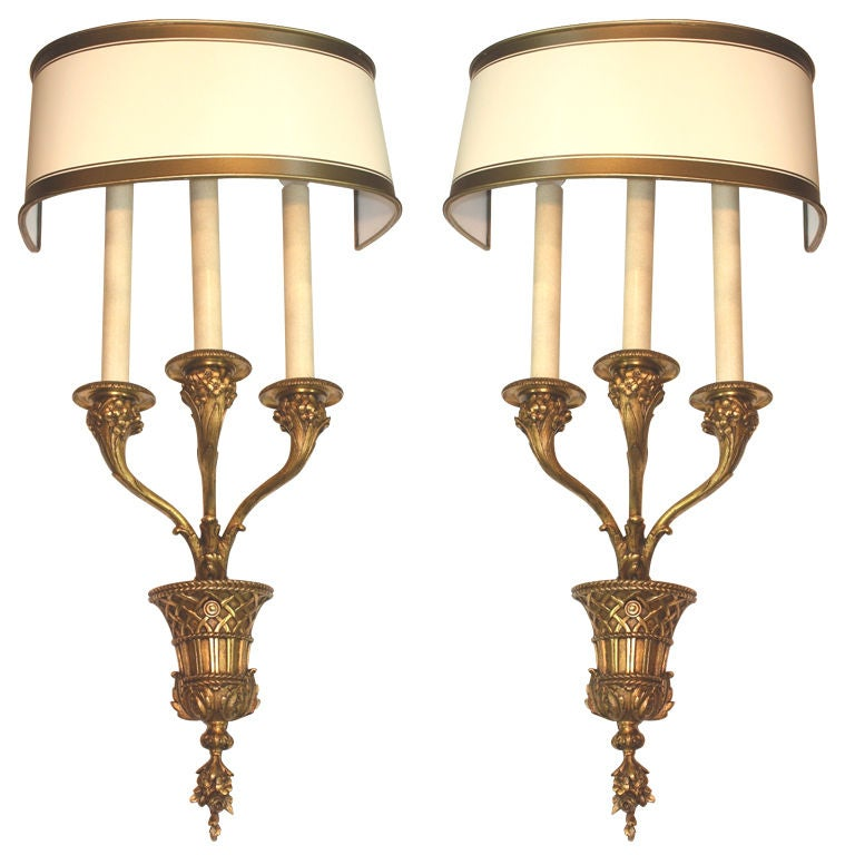 Pair of Louis XVI Style Bronze Basket Wall Sconces For Sale