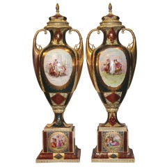 Pair of Royal Vienna Covered Vases