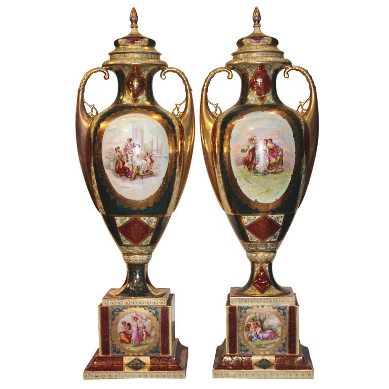 Pair of Royal Vienna Covered Vases For Sale