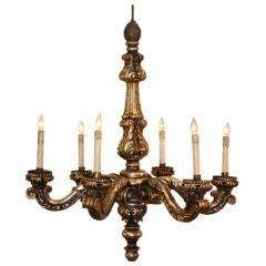 Louis XIV Style Six-Arm Wood Chandelier