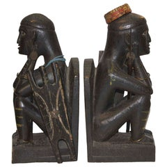 Pair of Carved Ebony Bookends as African Warriors