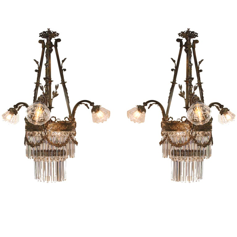 Pair Of Louis Xvi Style Gilt Bronze And Crystal