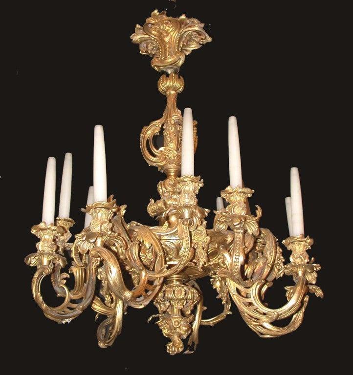 Rococo Chandelier Rh: Belle Epoque Rococo Twelve Light Gilt Bronze Chandelier At