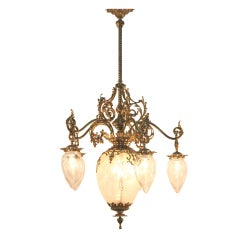 American Victorian Cut Glass and Gilt Bronze Chandelier