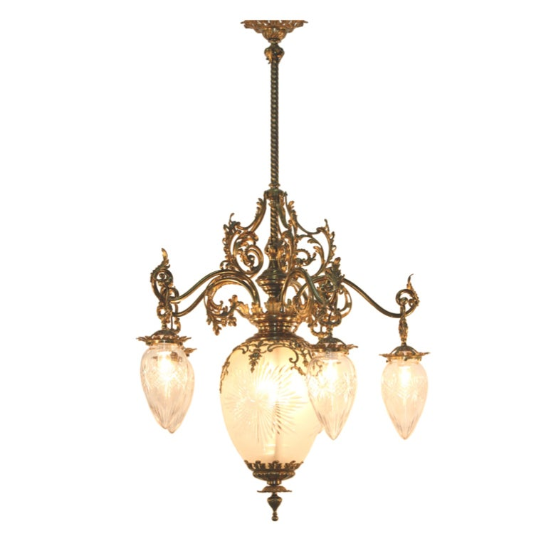 American Victorian Cut Glass And Gilt Bronze Chandelier At