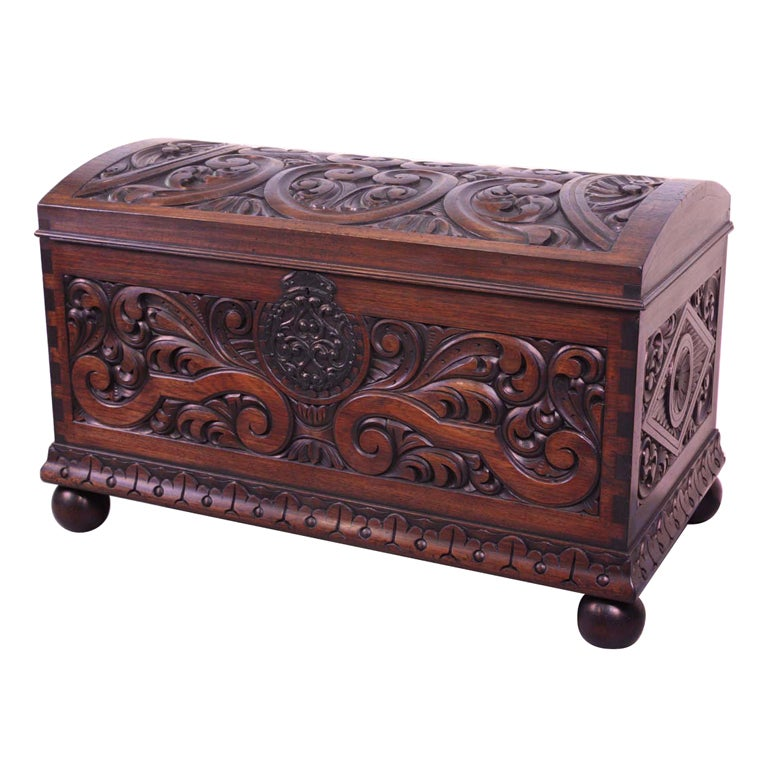 Central American Carved Mahogany  Coffer