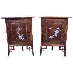 Pair of Faux Bamboo Corner Cabinets