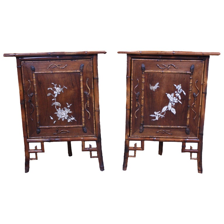 Pair of faux bamboo corner cabinets at 1stdibs for Armoire style japonais