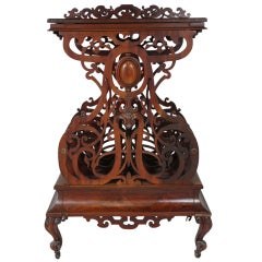 Victorian Strongly Figured Mahogany Fretwork Canterbury