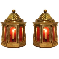 Pair of Carved Giltwood Wall Sconces