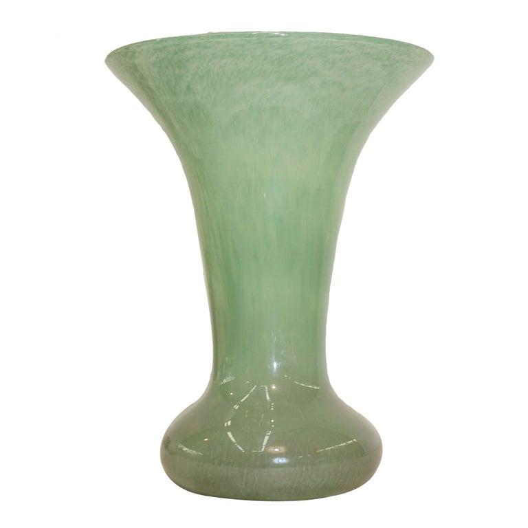 Scottish Monart Green Art Glass Vase