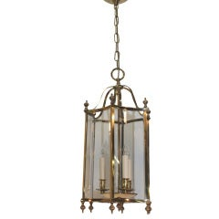 Louis XVI style Brass and Bent Glass Lantern