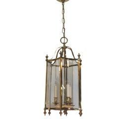 Louis XVI style Brass and Bent Glass Lantern