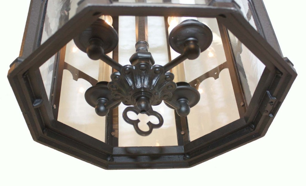 Neo Gothic Cast Metal Four Light Lantern In Excellent Condition For Sale In Montreal, QC
