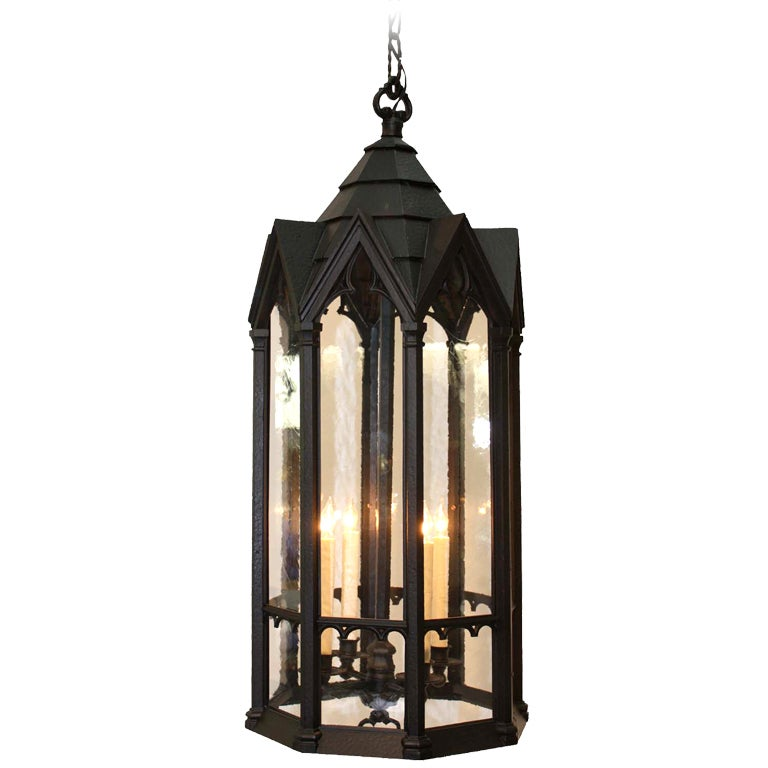 Neo Gothic Cast Metal Four Light Lantern For Sale