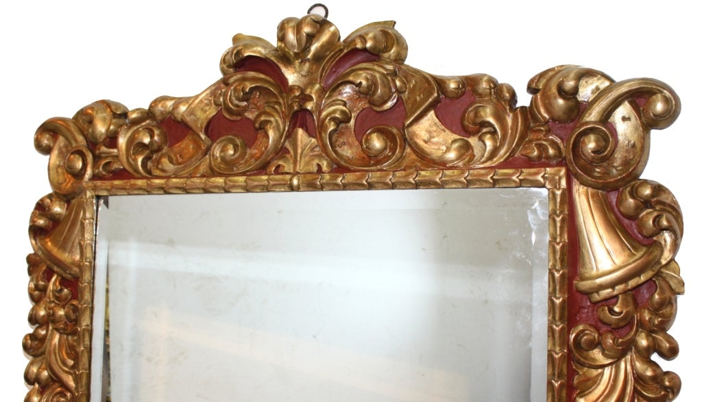 Baroque style polychrome and gilt carved wood mirror at for Baroque mirror canada