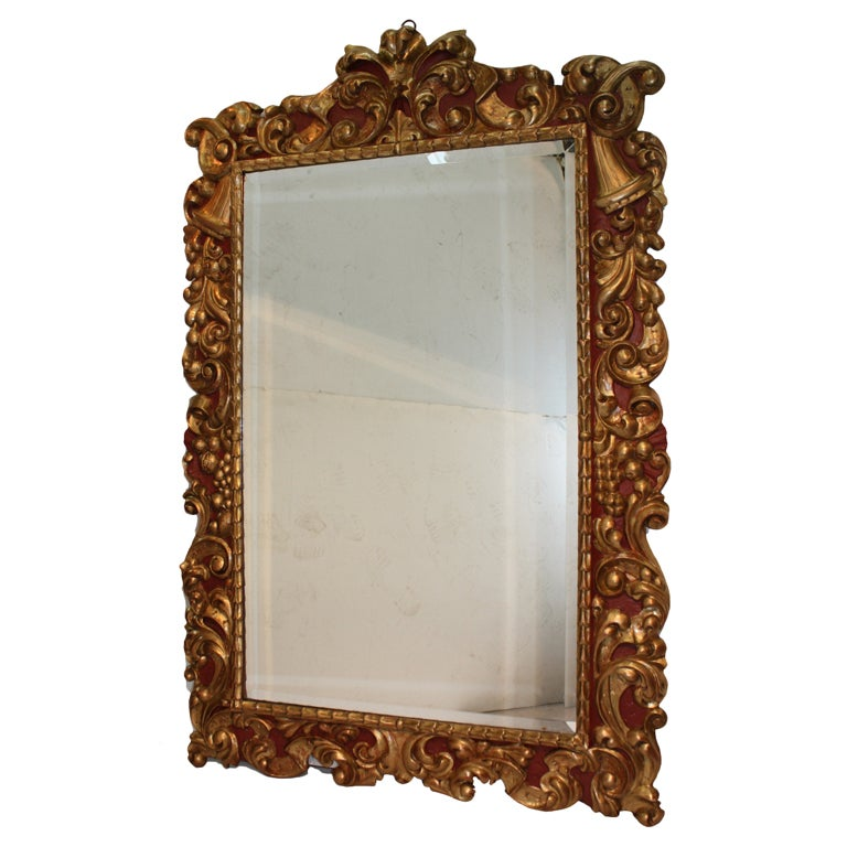 Baroque style polychrome and gilt carved wood mirror at for Baroque style wall mirror