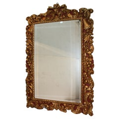 Baroque Style Mirror,  the Frame Carved Painted and Gilt