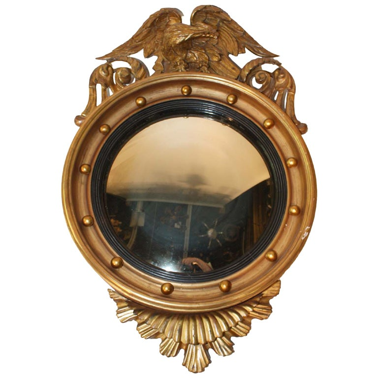 Federal style giltwood convex mirror for sale at 1stdibs for Convex mirror for home