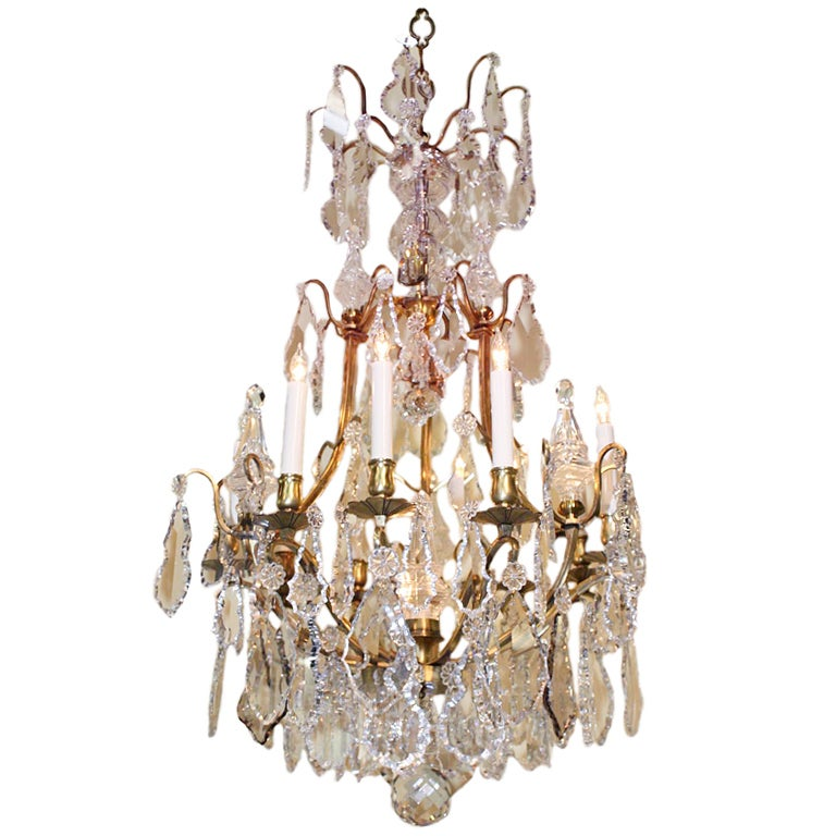 Louis XIV Style Crystal and Gilt Bronze Ten-Light Chandelier