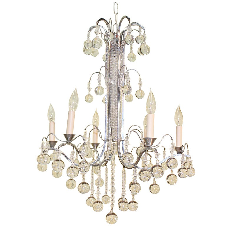 Art Deco Crystal And Nickel Silver Chandelier For Sale At