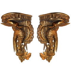 Pair of Empire Style Gilt Wood Wall Brackets