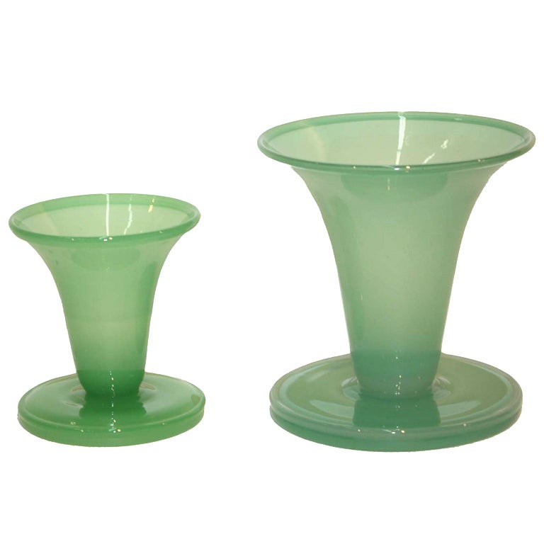 Graduated Pair of Steuben Jade Glass Vases