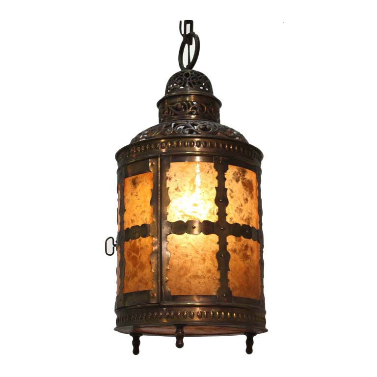 Arts and Crafts Brass and Mica Lantern For Sale