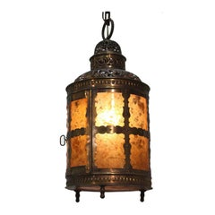 Arts and Crafts Brass and Mica Lantern
