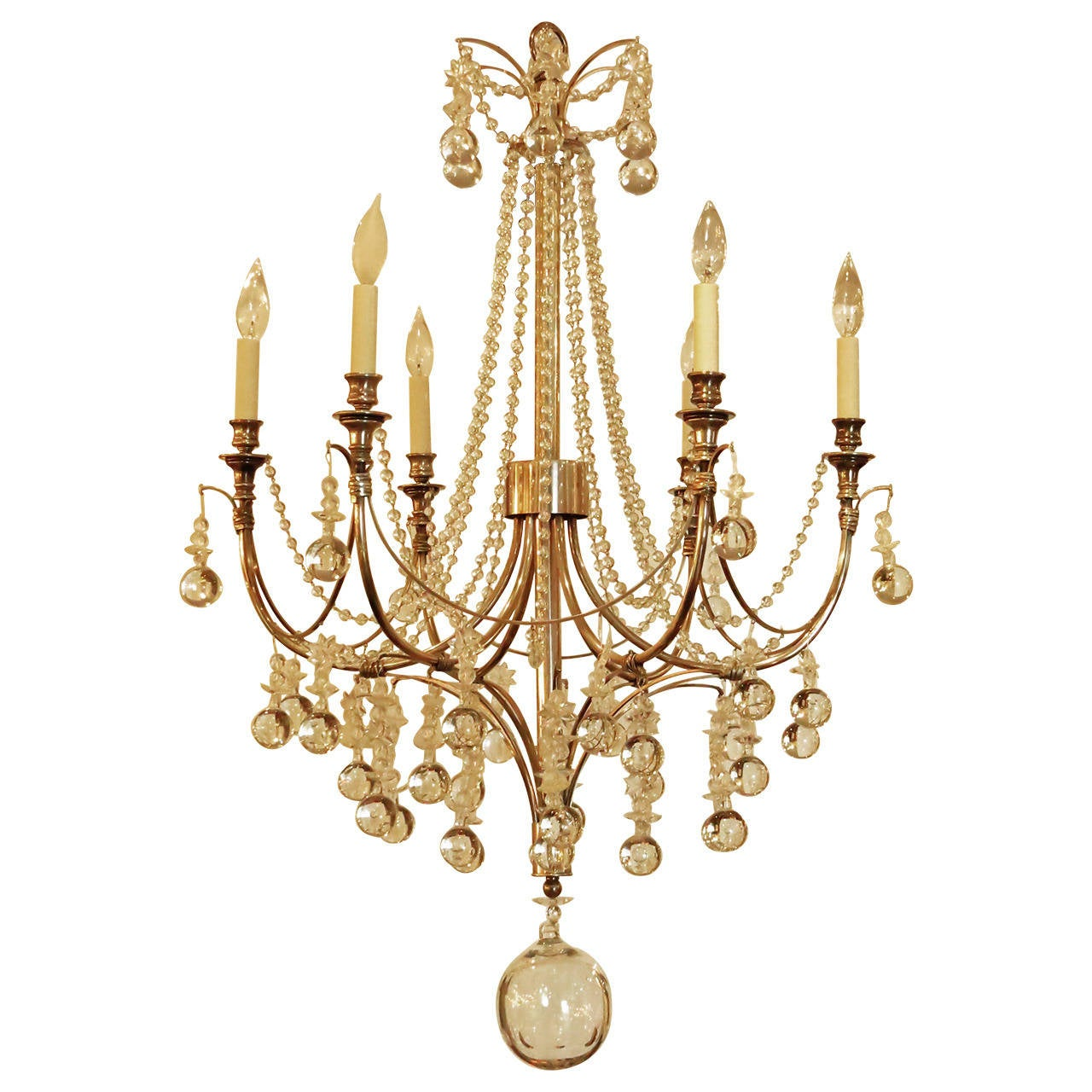 Beautiful Crystal and Silver Chandelier at 1stdibs