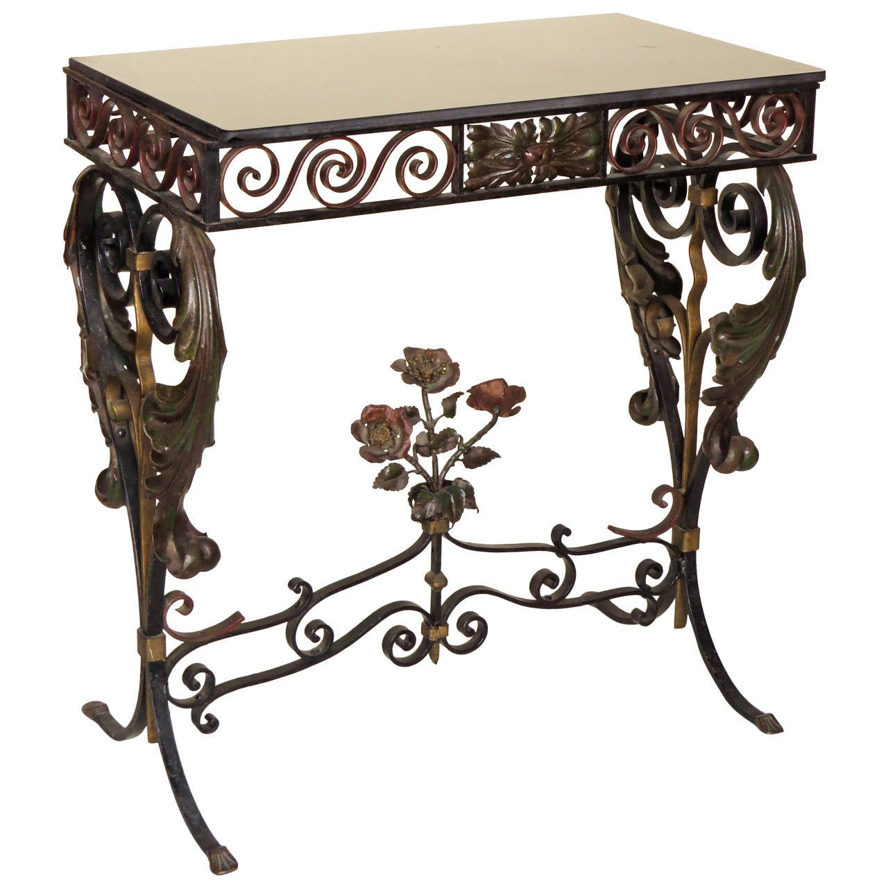 French wrought iron side table at 1stdibs for Wrought iron side table