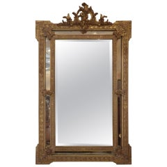 1850s French Gilded Mirror With Cherub Medallion For Sale