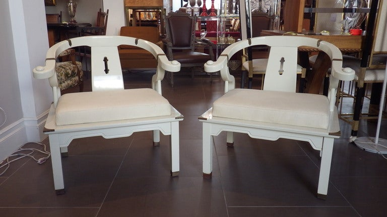 American Pair of James Mont Style Chairs For Sale