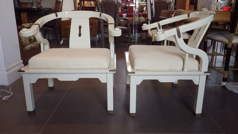 Pair of James Mont Style Chairs In Excellent Condition For Sale In Los Angeles, CA